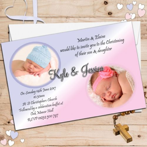 10 Personalised TWINS / JOINT Christening Baptism PHOTO Invitations N23